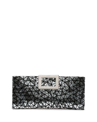 Belle Vivier Geo-Print Clutch Bag, Silver