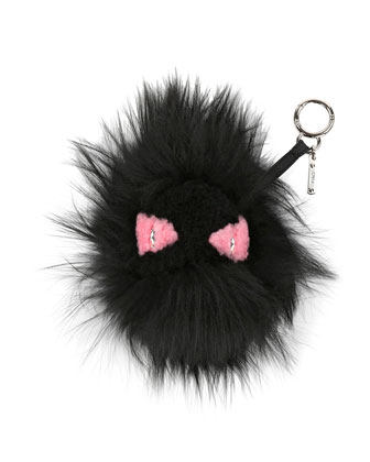 Monster Mixed-Fur Charm for Handbag, Black/Pink