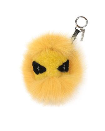 Monster Mixed-Fur Charm for Handbag, Yellow/Black
