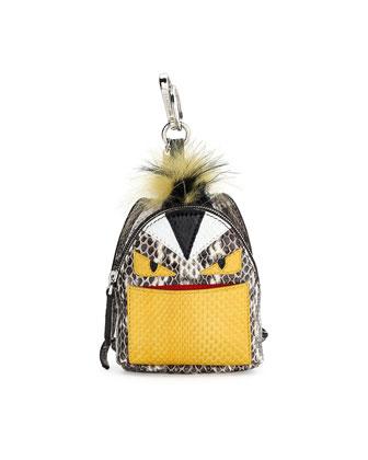 Monster Snakeskin Backpack Handbag Charm, Natural Multi
