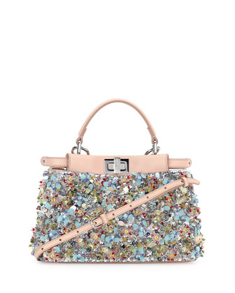 Peekaboo Mini Beaded Flower Satchel Bag, Blue/Pink/Multi