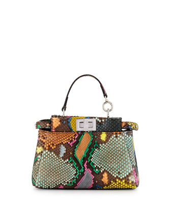 Peekaboo Micro Painted Python Satchel Bag, Multi