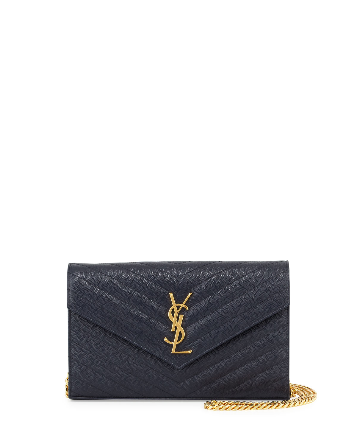 Monogram Leather Wallet-on-Chain Bag, Marine Navy - Saint Laurent