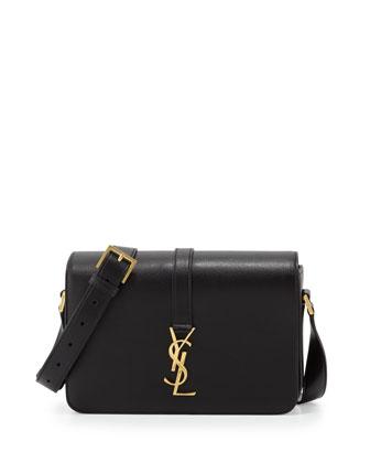 Monogram Medium Calf Crossbody Bag, Black