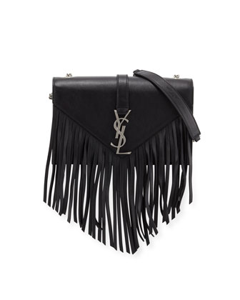 Monogram Small Fringe Crossbody Bag, Black