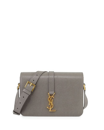 Monogram Medium Calf Crossbody Bag, Fog Gray