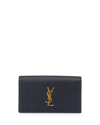 Monogram Calfskin Clutch Bag, Marine Navy