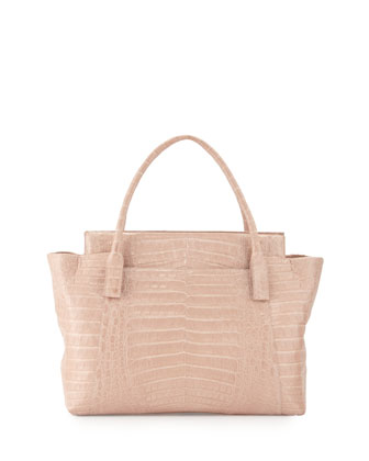 Crocodile Zipper Tote Bag, Nude Matte