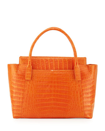Crocodile Zipper Tote Bag, Orange Matte