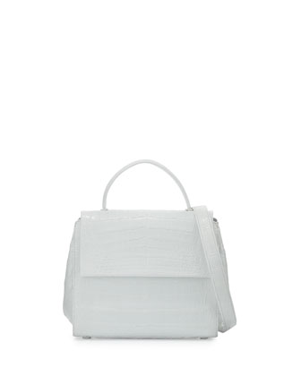 Kelly Small Crocodile Frame Bag, White Shiny
