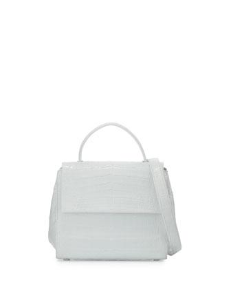 Kelly Small Crocodile Frame Bag, White Shiny