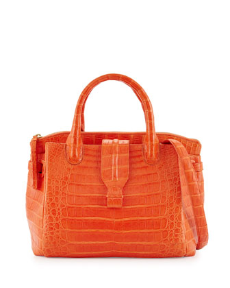 New Cristina Medium Crocodile Tote Bag, Orange Matte