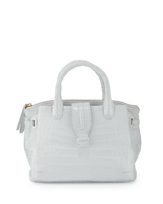New Cristina Medium Crocodile Tote Bag, White Shiny