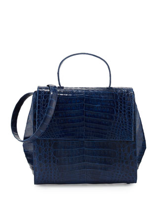 Kelly Medium Crocodile Top-Handle Bag, Electric Blue