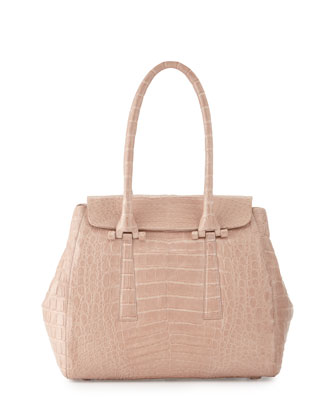 Crocodile Small Flap Tote Bag, Nude Matte