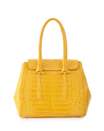 Crocodile Small Flap Tote Bag, Yellow Matte