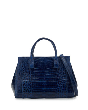 Daisy Medium Crocodile Bag, Electric Blue