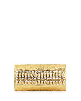 Crocodile Beaded Flap Clutch Bag, Gold Multi