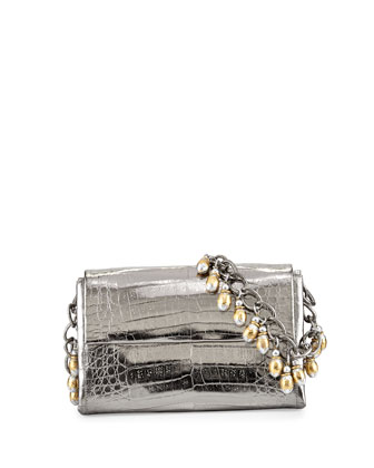 Beaded-Chain Crocodile Shoulder Bag, Anthracite/Multi