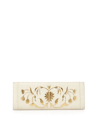 Crocodile Woven Slicer Clutch Bag, Cream/Gold