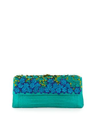 Floral Crocodile Back-Pocket Clutch Bag, Green Multi