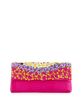 Floral Crocodile Clutch Bag, Pink/Multi