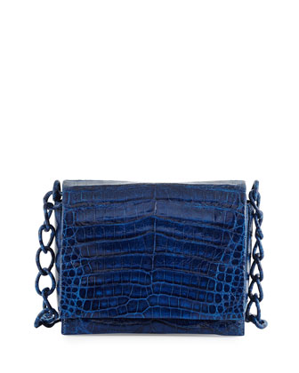 Crocodile Triple-Gusset Crossbody Bag, Electric Blue