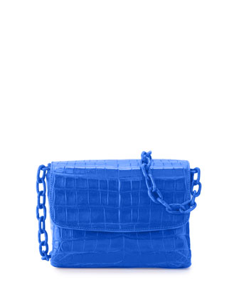 Crocodile Triple-Gusset Mini Crossbody Bag, Blue Matte