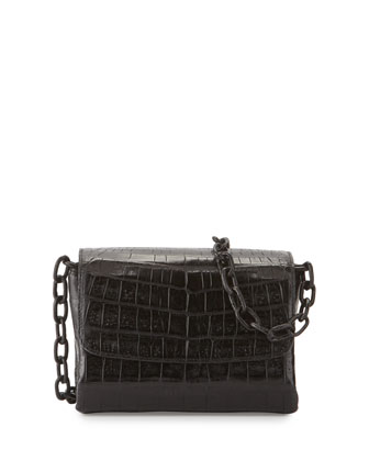 Crocodile Triple-Gusset Mini Crossbody Bag, Black Matte