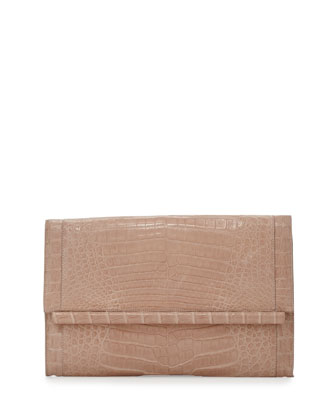 Crocodile Large Bar Clutch Bag, Nude Matte