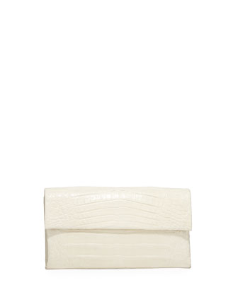 Simple Flap Crocodile Clutch Bag, Black Shiny