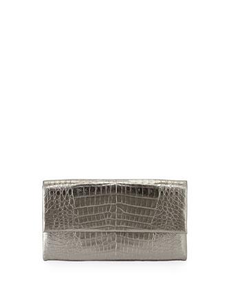 Simple Crocodile Flap Clutch Bag, Anthracite