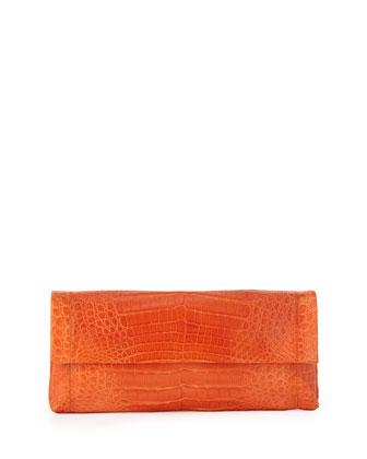 Gotham Crocodile Flap Clutch Bag, Orange Matte