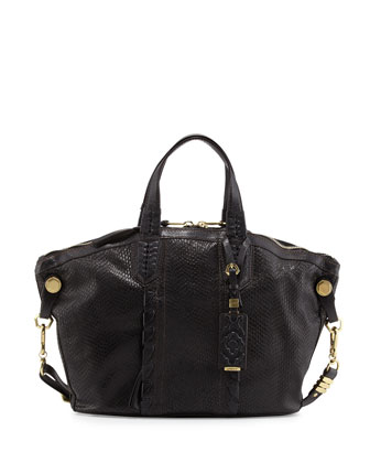 Cassie Medium Snake-Embossed Tote Bag, Black