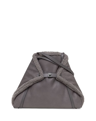 Ai Medium Shearling Fur Shoulder Bag, Dark Gray
