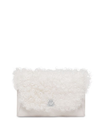Anouk Lamb Fur Chain Envelope Clutch Bag, White