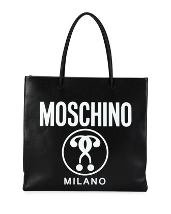 Large Logo-Print Shopping Tote Bag, Black