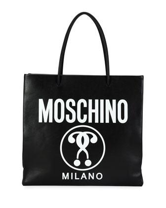 Large Logo-Print Shopping Tote Bag, Black