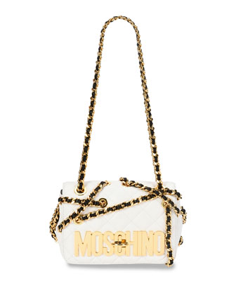 Chains Quilted Medium Shoulder Bag, White