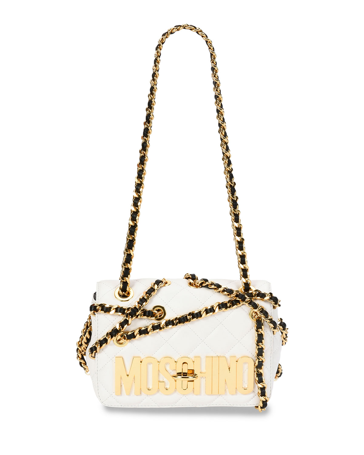 Chains Quilted Medium Shoulder Bag, White, Women's, Size: M, White/Gold - Moschino