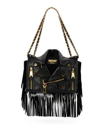 Fringe Jacket Large Shoulder Bag, Black