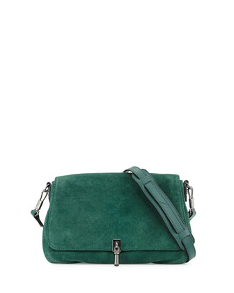 Cynnie Mini Suede Crossbody Bag, Canopy Green