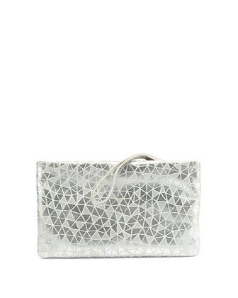 Prismick Suede Pochette Bag, Silver/White