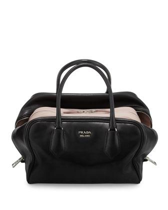 Soft Leather Medium Inside Bag, Black/Pale Pink