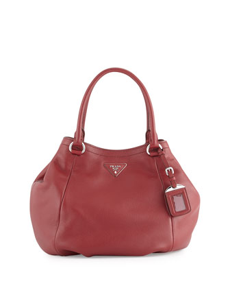 Vitello Daino Large Satchel Bag, Wine (Cerise)