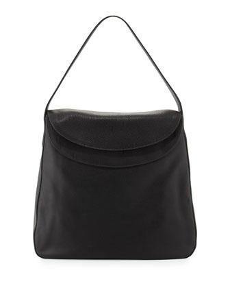Cervo Doubled Flap-Top Leather Hobo Bag, Black (Nero)