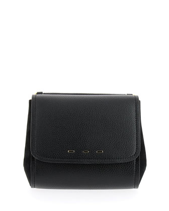 Sabrina Calfskin Saddle Bag, Black
