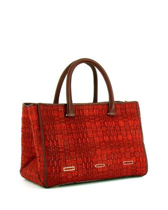 Pandora Demi Woven Tote Bag, Cranberry