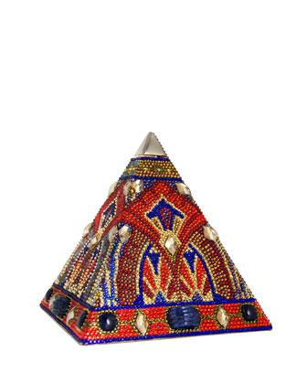 Pyramid Crystal Clutch Bag, Champagne Volcano