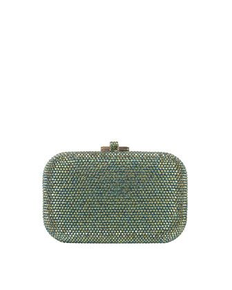 Crystal Slide-Lock Clutch Bag, Silver Nile Green